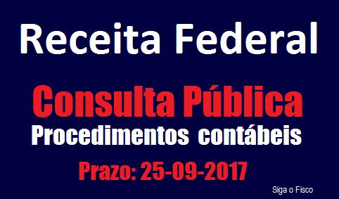 Receita Federal abre consulta pública sobre procedimentos contábeis a serem usados na apuração de tributos 2