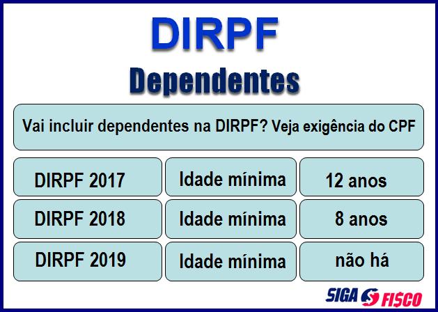 Receita Federal modifica idade de dependentes para inclusão na DIRPF 2018 2
