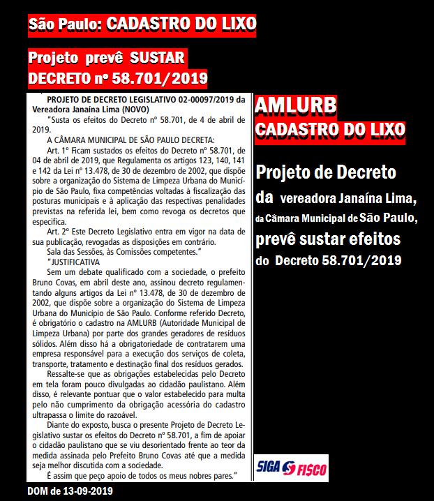 Cadastro do Lixo: Projeto susta Decreto nº 58.701/2019 em São Paulo 2