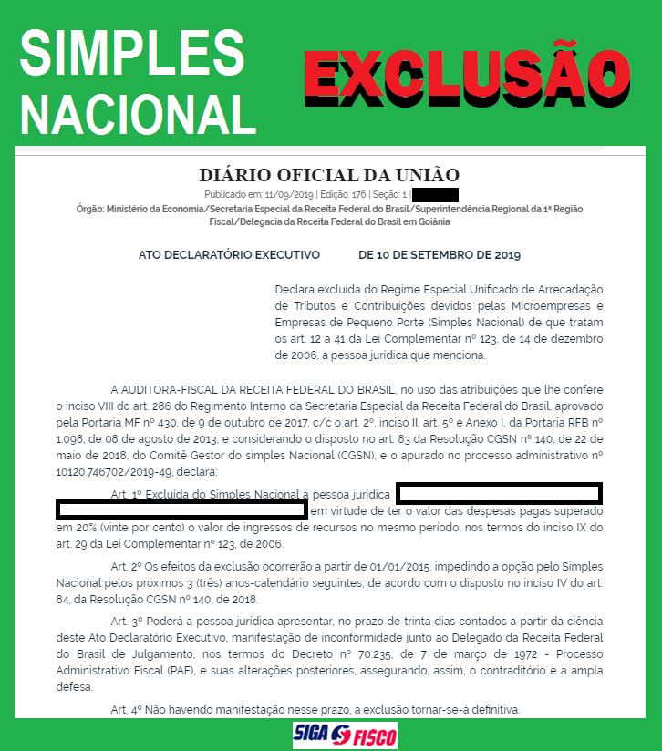 Simples Nacional sofre Exclusão por excesso de despesa 14