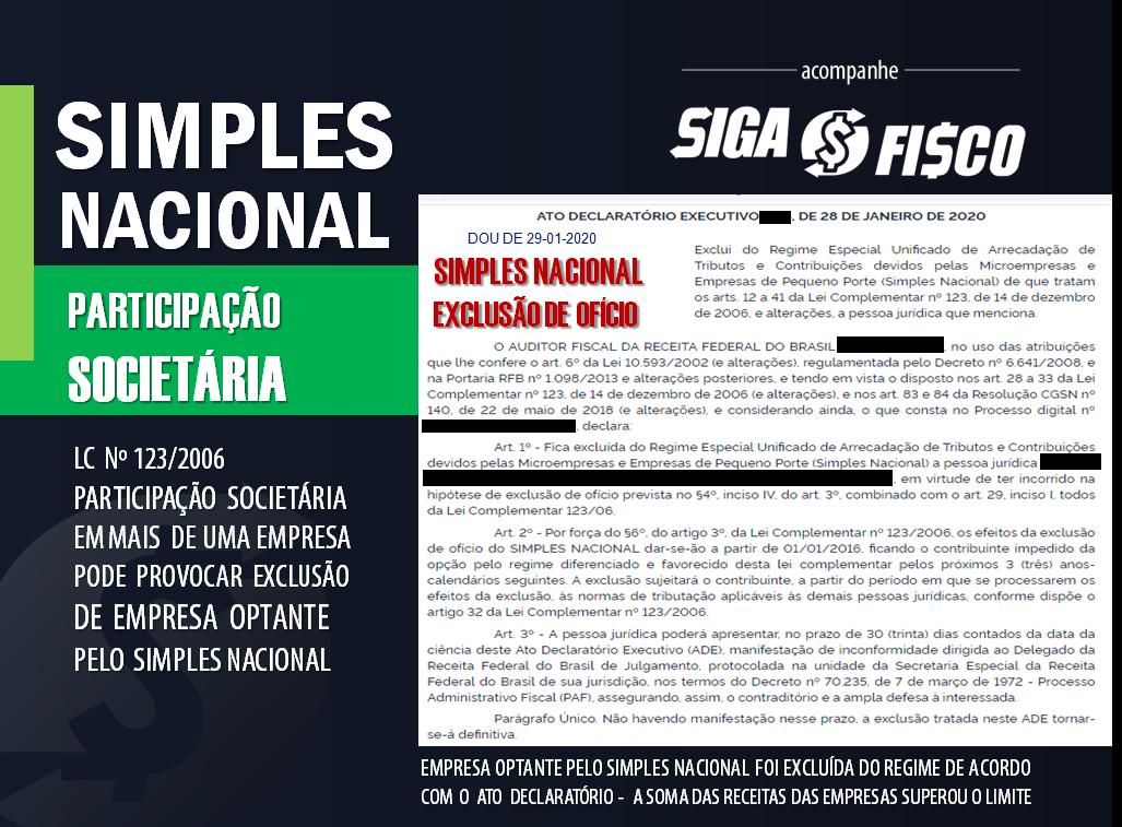 Simples Nacional: Participação Societária provoca exclusão do regime 12