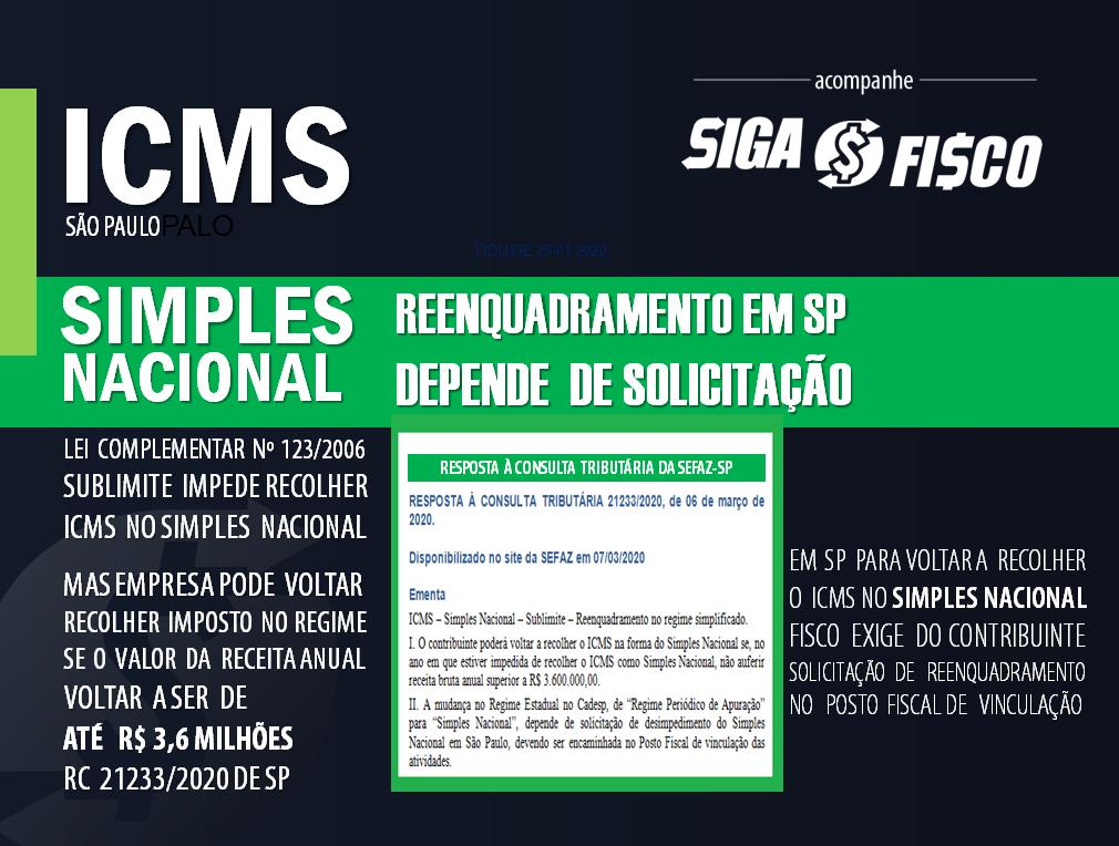 ICMS: Reenquadramento do contribuinte paulista no Simples Nacional depende de solicitação 1