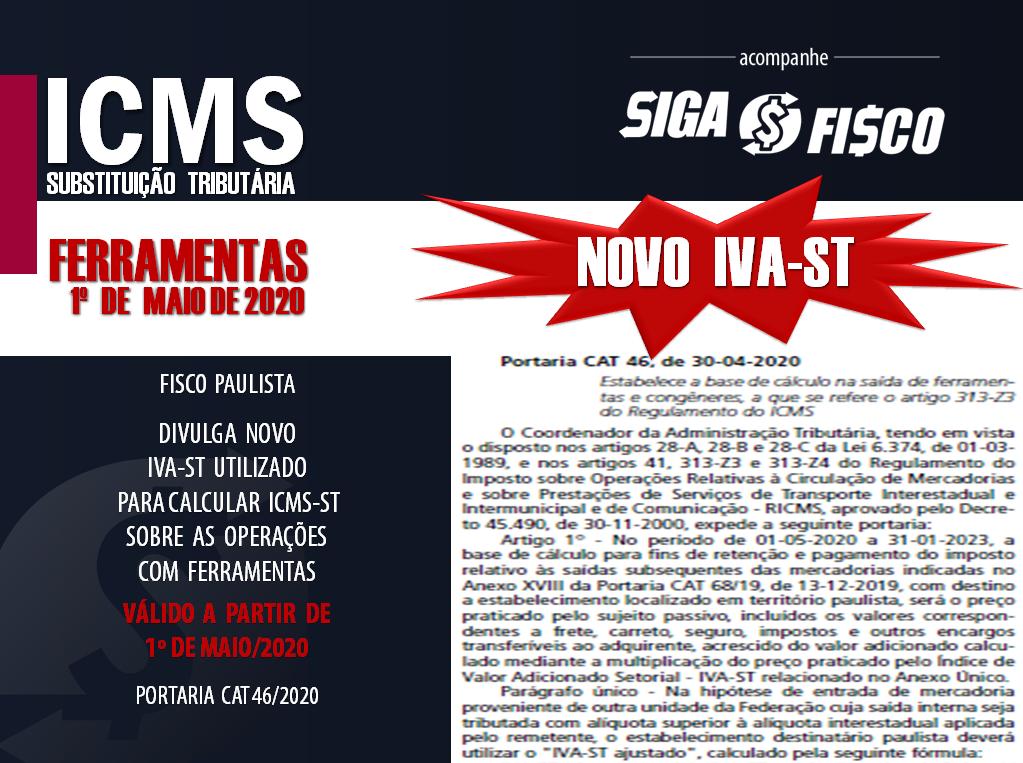 ICMS-ST: SP divulga novo IVA-ST sobre ferramentas com aplicação imediata 1