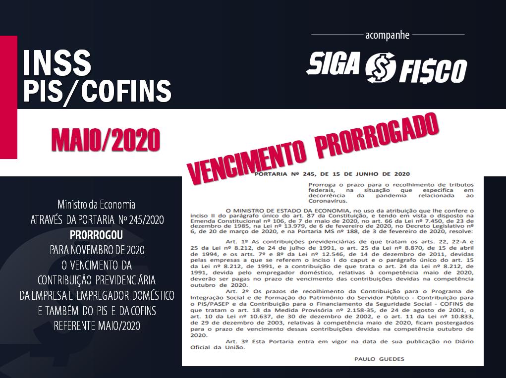 INSS, PIS e COFINS referente maio de 2020: Governo prorroga prazo de recolhimento 1