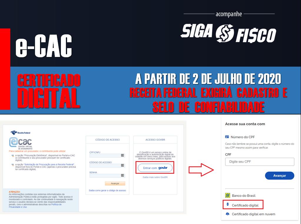 e-CAC Terá novas Regras de Acesso a partir 1º de setembro de 2020 2