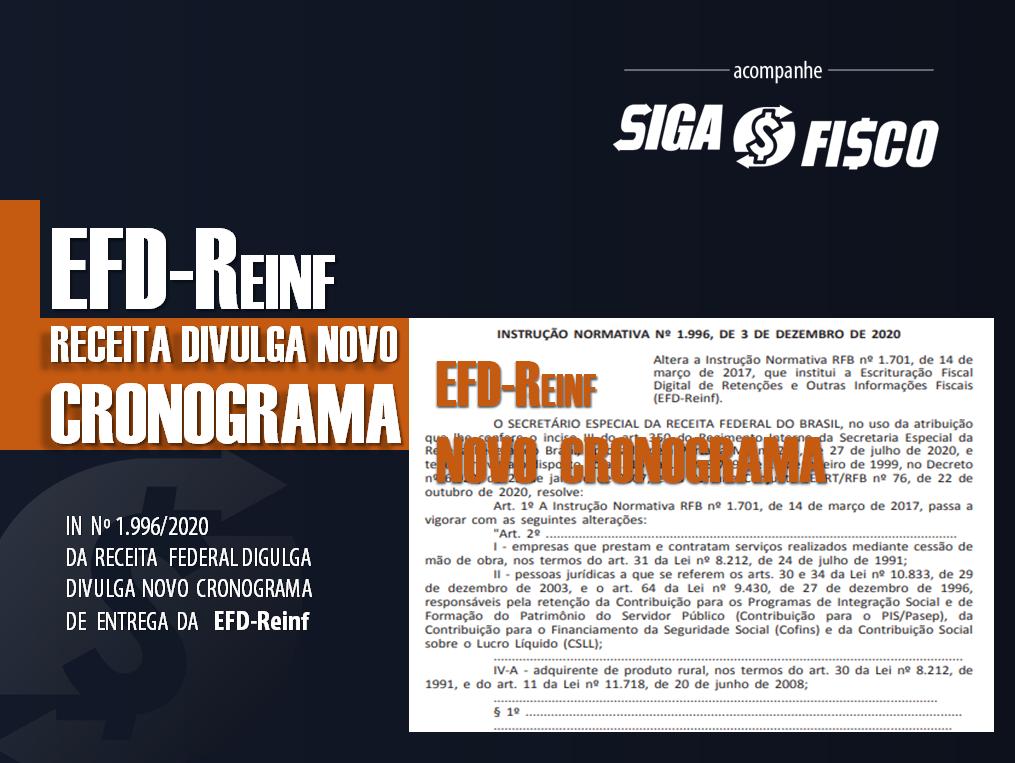 EFD-Reinf: Receita Federal divulga Novo Cronograma de entrega do 3º e 4º grupo 1