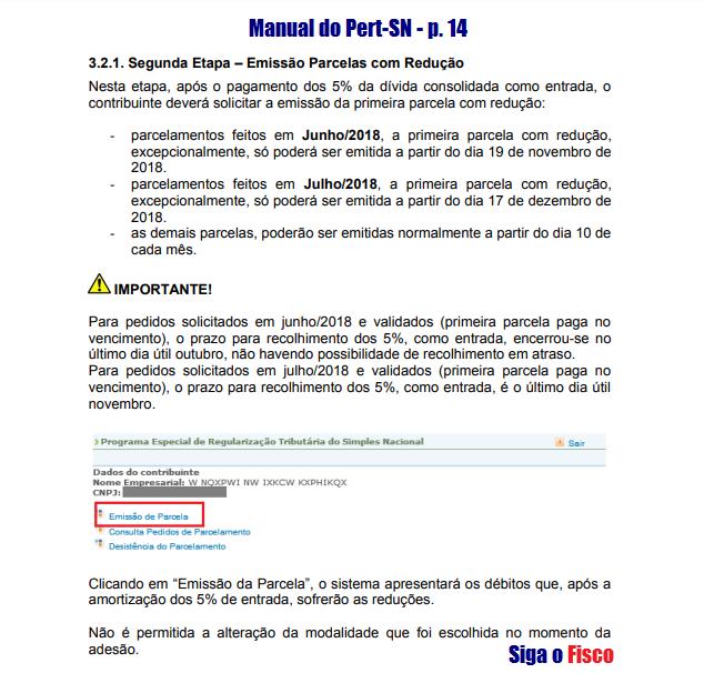 Pert-SN - Prazo para emissão da parcela com redução 4