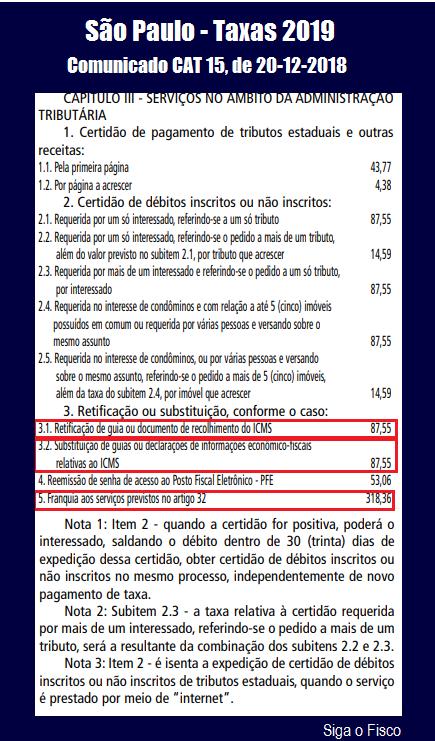 Governo paulista divulga UFESP e Taxas de Serviços para 2019 4