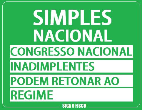 Simples Nacional: Para Congresso Inadimplentes podem retornar ao Regime 1