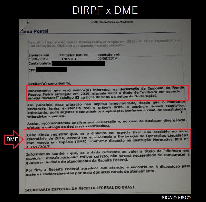 DIRPF x DME – Cruzamento da Receita começa dar resultado 3