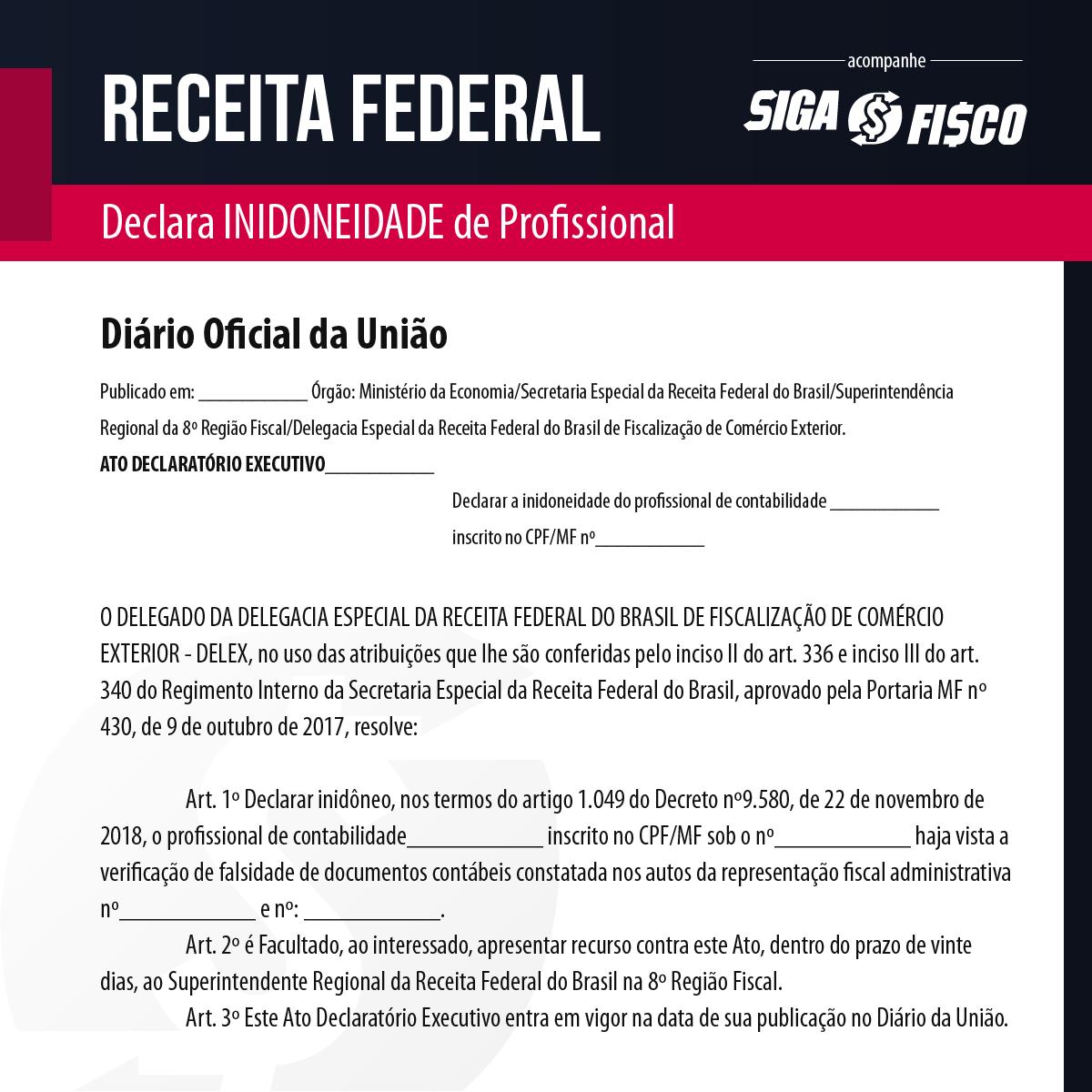 Profissional contábil é declarado inidôneo pela Receita Federal 2