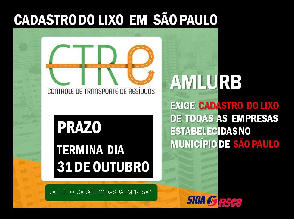 Cadastro do Lixo em São Paulo, Prazo vence dia 31 de Outubro 1