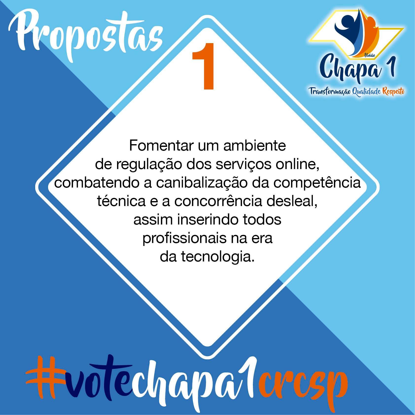 CRC SP – Eleições 2019, propostas da Chapa 1 2