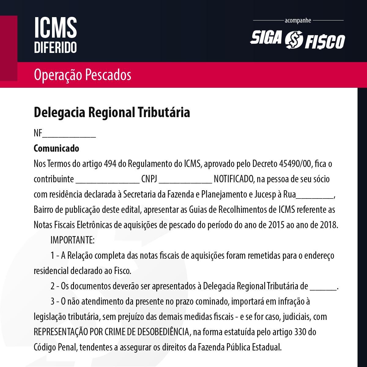 ICMS Diferido: Fiscalização exige recolhimento do imposto sobre pescados 2