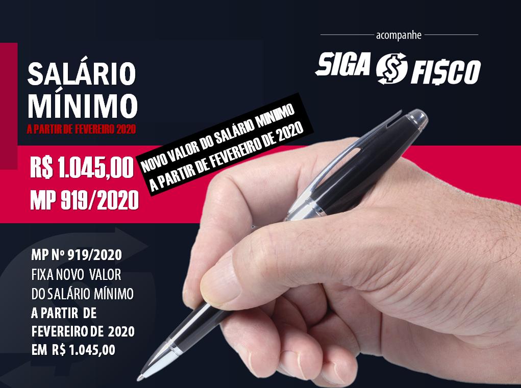 MP 919 Fixa valor do Salário Mínimo a partir de fevereiro 1