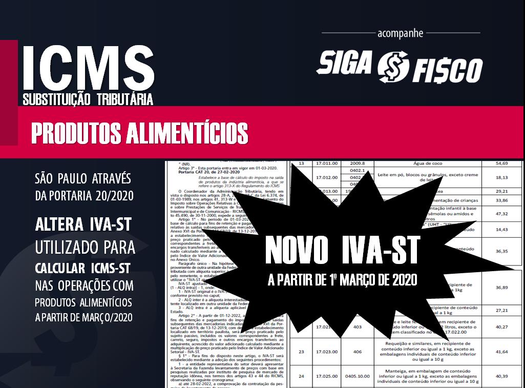 ICMS-ST: SP divulga novo IVA-ST para produtos alimentícios 7