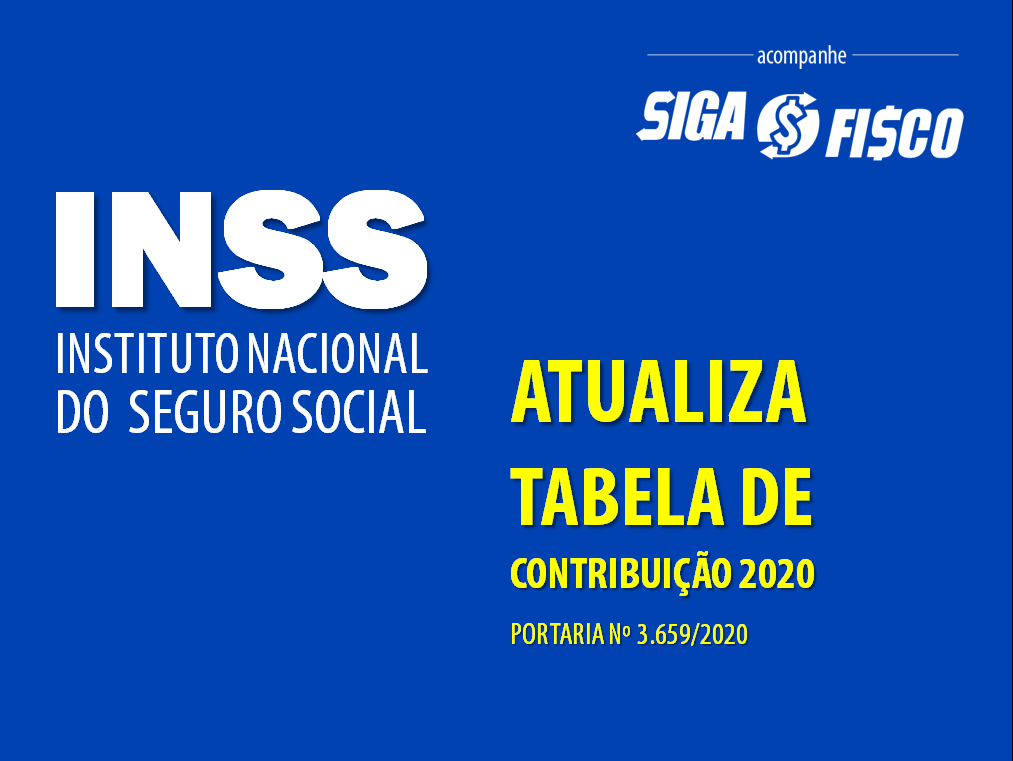 INSS: Portaria atualiza Tabela de Contribuição de 2020 1
