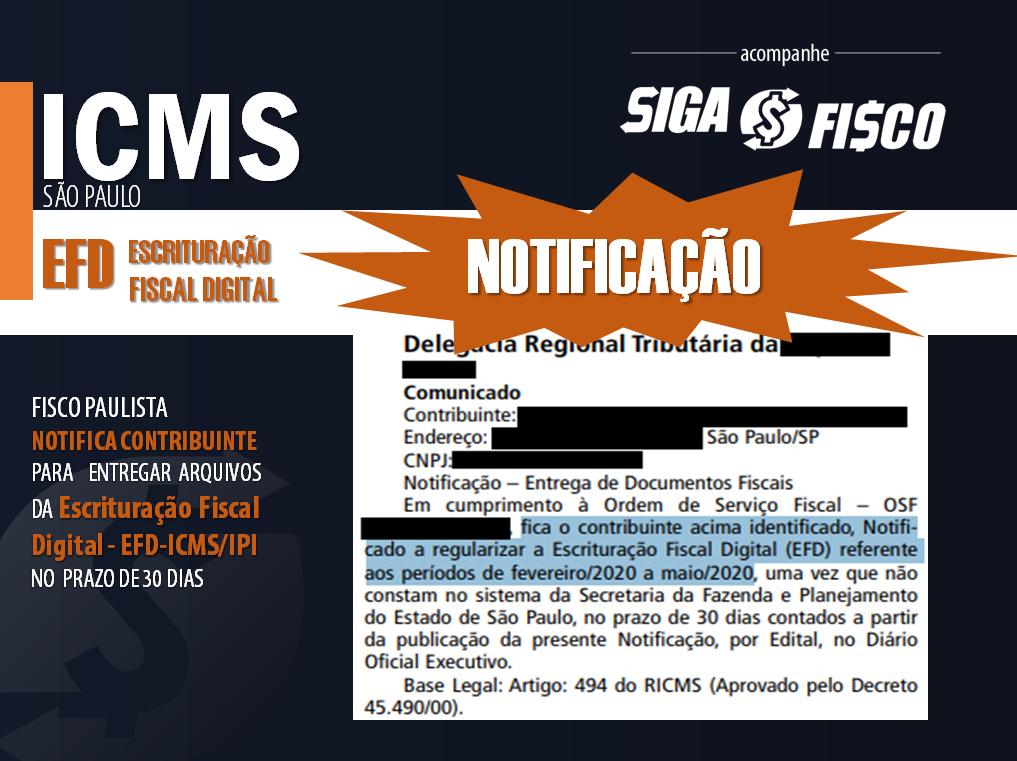 EFD-ICMS: Falta de entrega provoca Notificação em SP 1