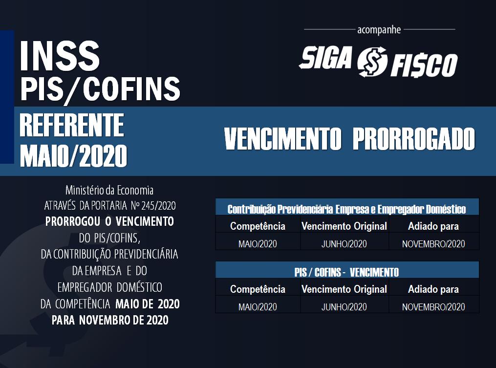 INSS, PIS e COFINS referente maio de 2020: Governo prorroga prazo de recolhimento 2