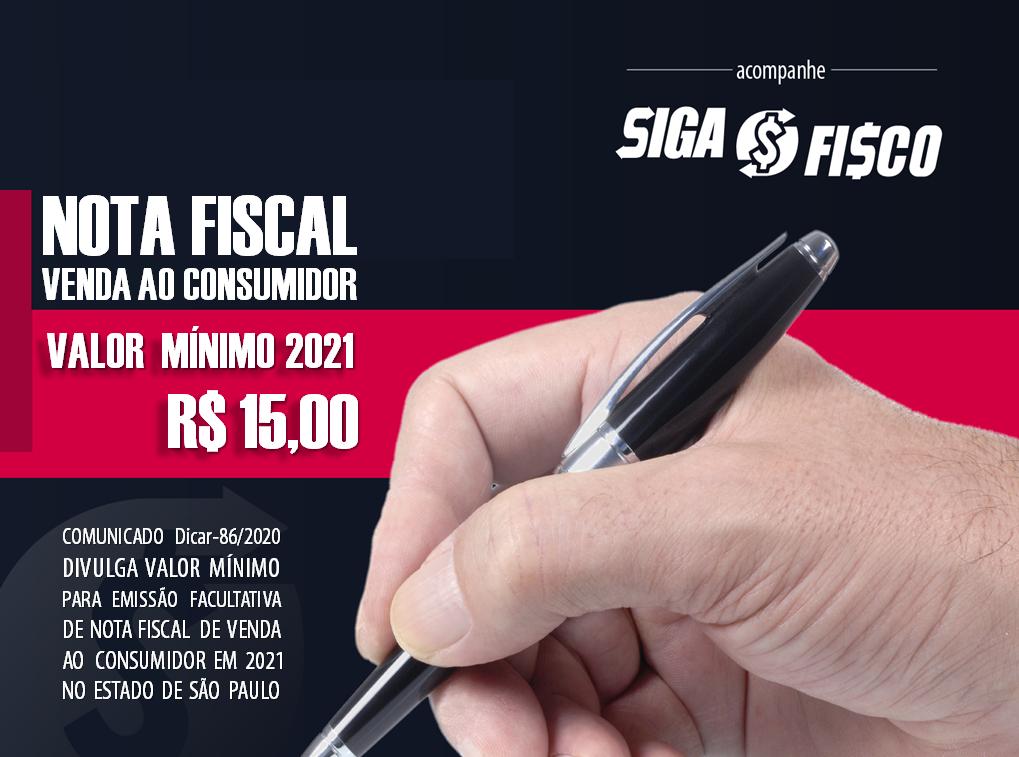 SP divulga valor mínimo de Nota Fiscal de Venda a Consumidor para 2021 1