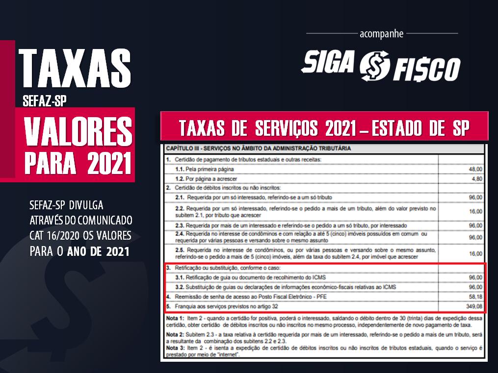 Taxa de Serviços: Estado de SP divulga valores para 2021 2