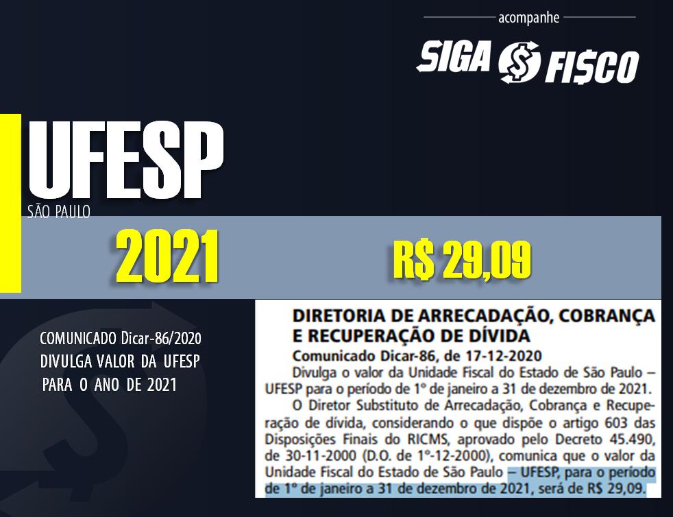 SP divulga valor da UFESP para 2021 1